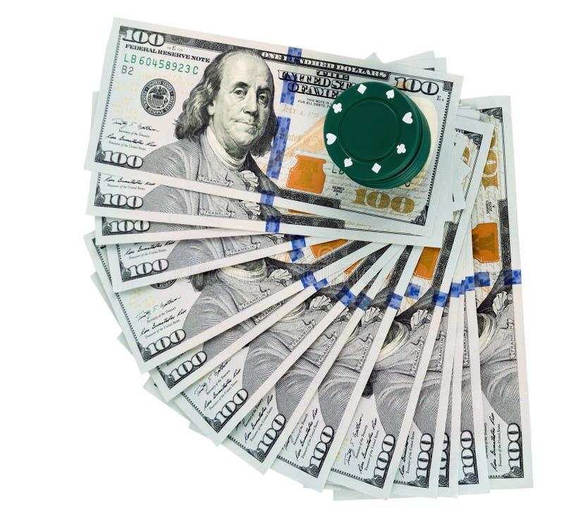 网上赌博娱乐场纸牌美金 库存图片