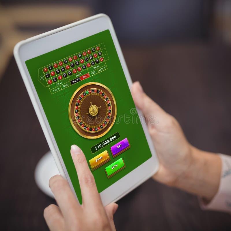 网上轮盘赌比赛的综合图象 免版税库存照片