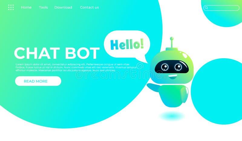 网上辅助马胃蝇蛆着陆页模板 网页的技术支持设计 真正帮助网站 Chatbot问好 库存例证