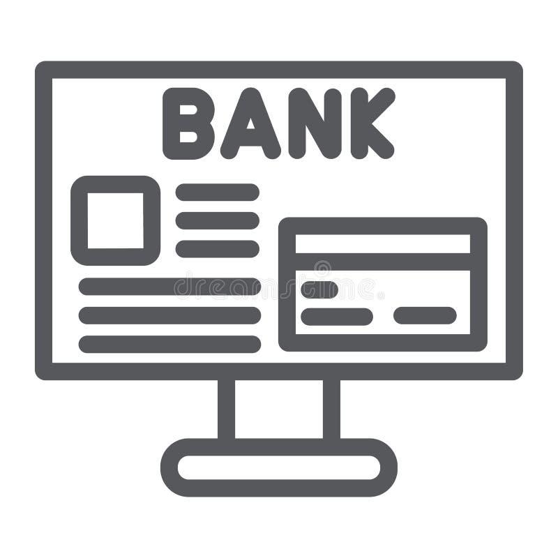 网上银行线象,财务和付款,网上财务标志,向量图形,在白色的一个线性样式 皇族释放例证