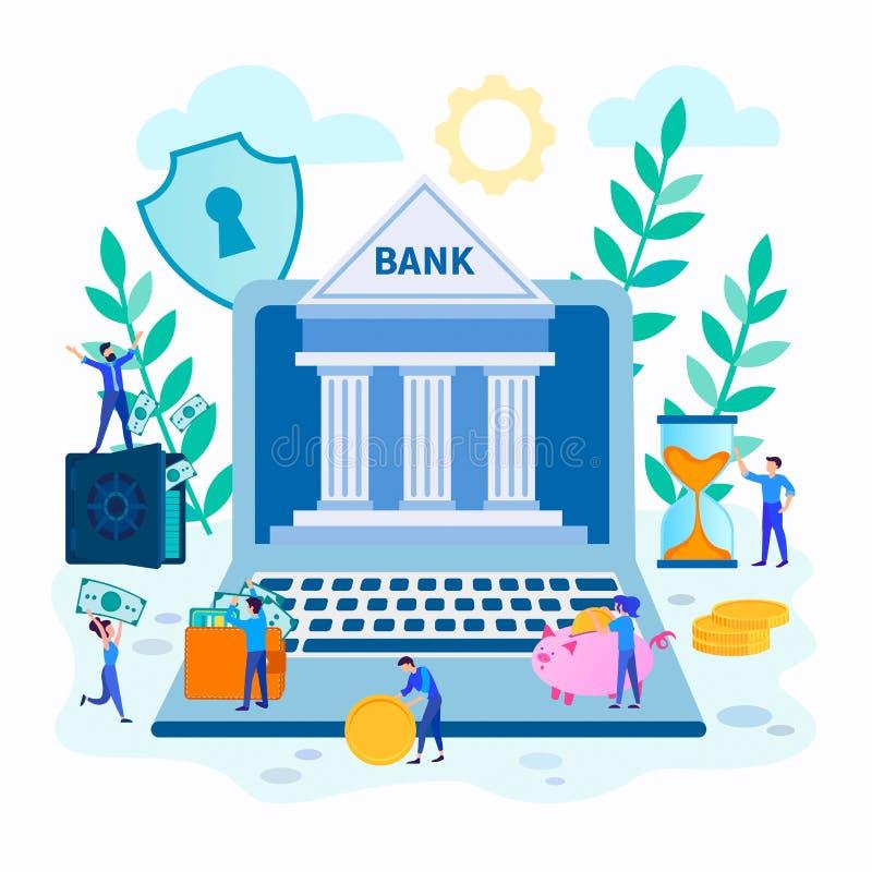 网上银行,网上金融交易暂停的概念的传染媒介例证 皇族释放例证