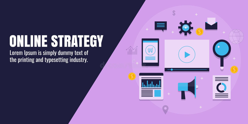 网上销售方针,数字式烙记,事务,内容, seo,社会媒介,逻辑分析方法,网促进概念 平的横幅 库存例证