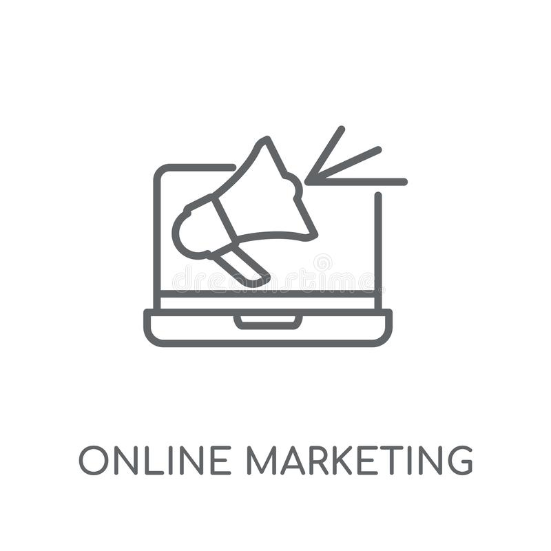 网上销售的线性象 现代概述网上营销lo 库存例证