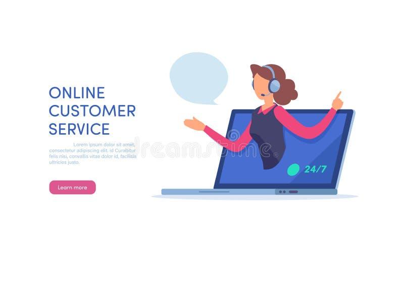 网上顾客服务 电话中心支持 在白色背景的动画片微型例证向量图形 皇族释放例证