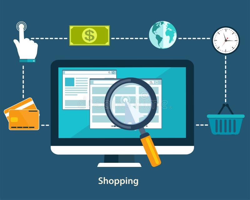 网上付款方法和购买物品的概念 平的desi 库存例证