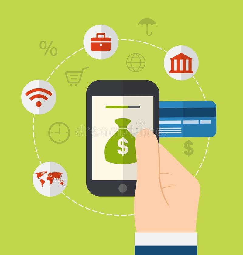 网上付款方法的概念 网上付款gat的象 向量例证