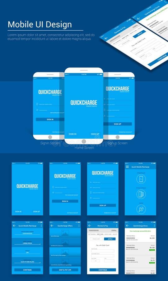 网上付款流动App UI, UX和GUI模板 皇族释放例证