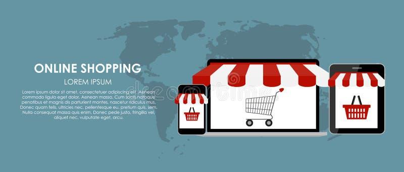 网上购物传染媒介例证 平面 皇族释放例证