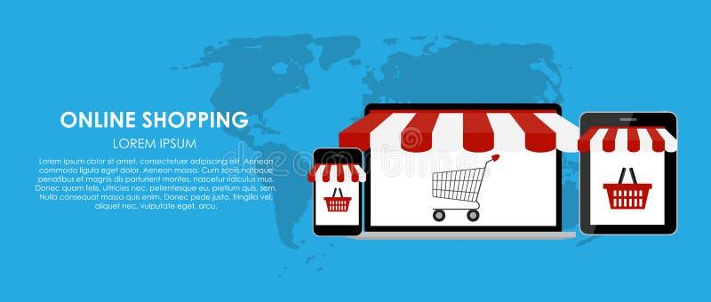 网上购物传染媒介例证 平面 向量例证