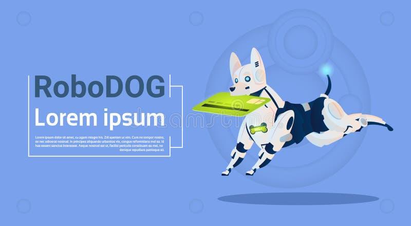 网上购物动物现代机器人宠物人工智能的机器人狗举行信用卡流动付款 向量例证