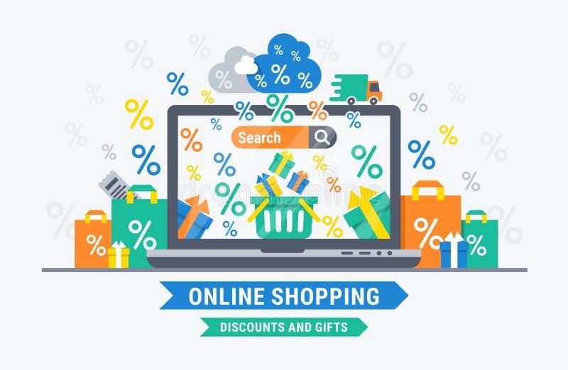 网上购物折扣和礼物 库存例证