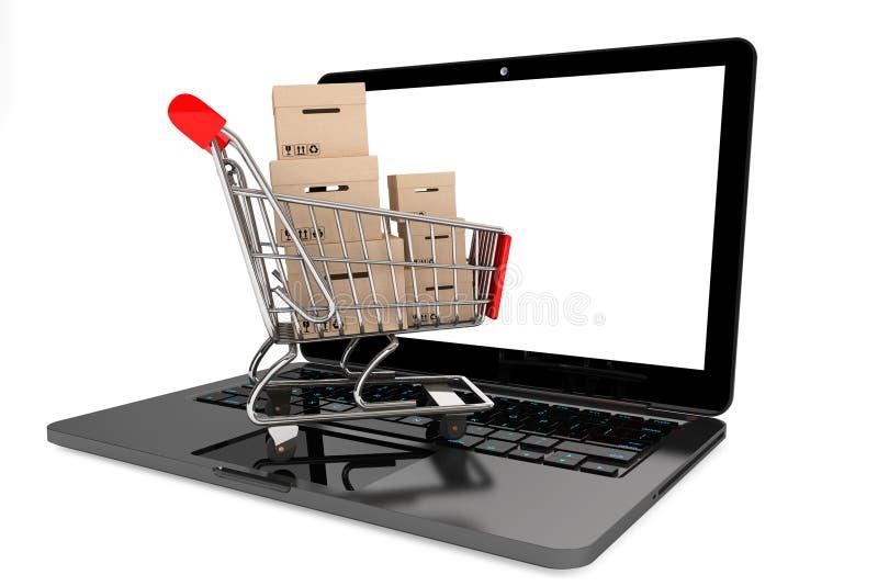 网上购物概念。有箱子的购物车在膝上型计算机 向量例证