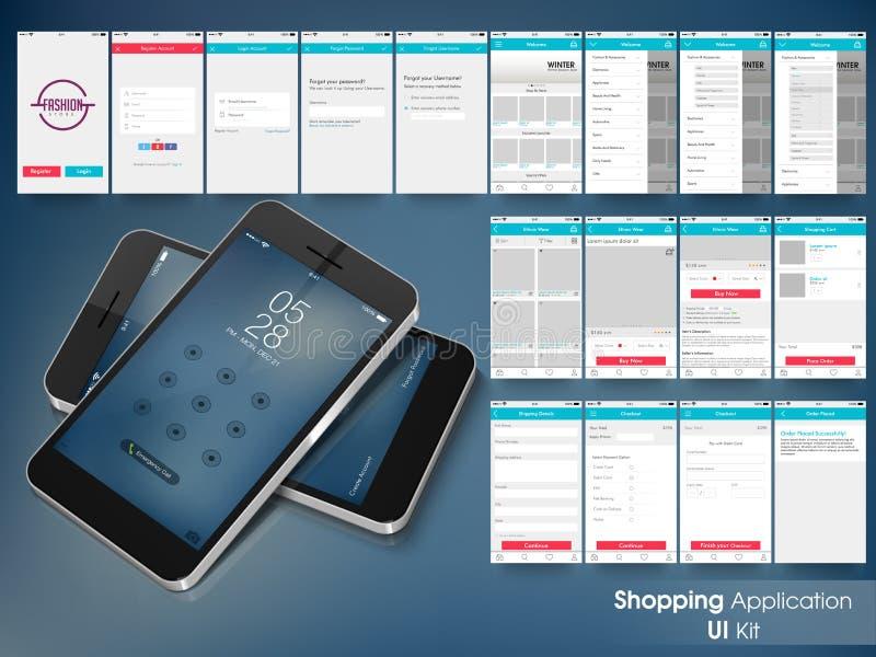 网上购物概念的流动用户界面 向量例证