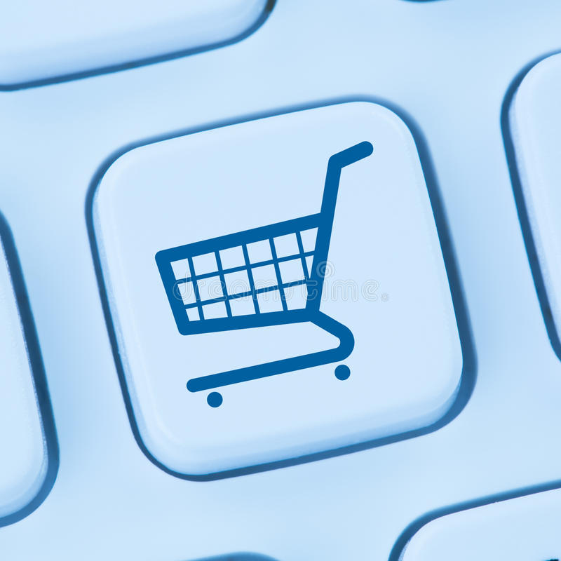 网上购物电子商务电子商务互联网商店概念蓝色 免版税库存照片