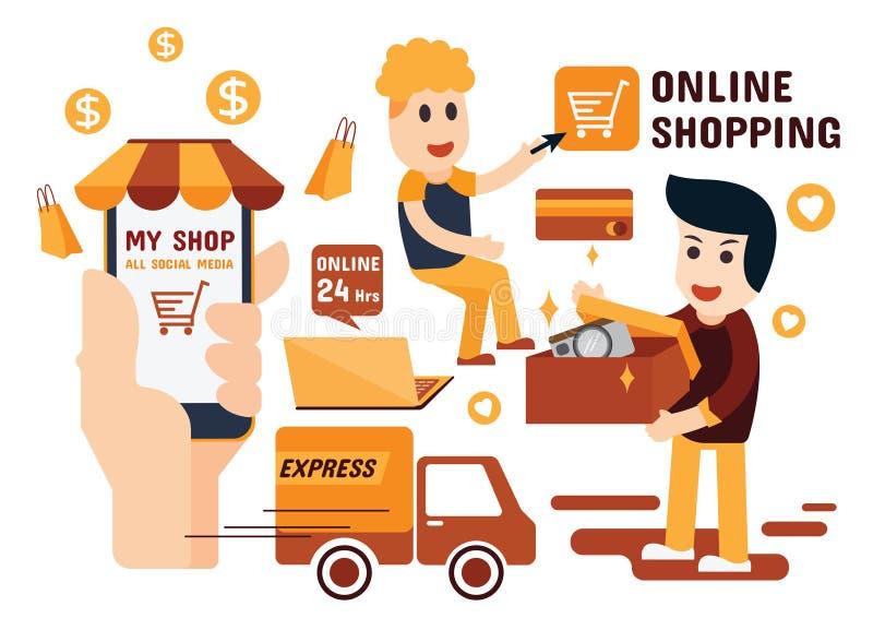 网上购物的Infographics平的设计 图库摄影