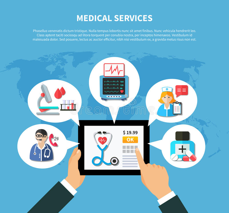 网上医疗服务平的设计 皇族释放例证