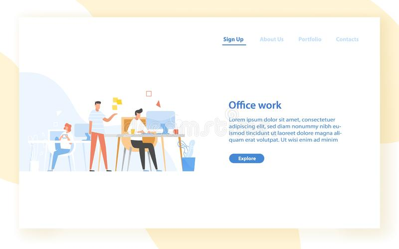 网与在办公室的程序员或编码人的横幅模板 软件开发,编程或者节目 库存例证