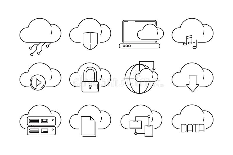 网云彩为象服务 被隔绝的互联网sync计算机科技infographic传染媒介线性标志 向量例证