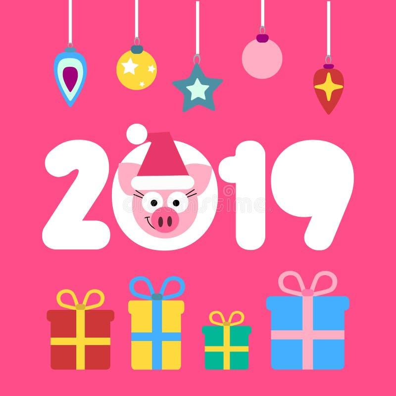 网传染媒介2019新年猪在动画片平的样式的卡片设计 向量例证