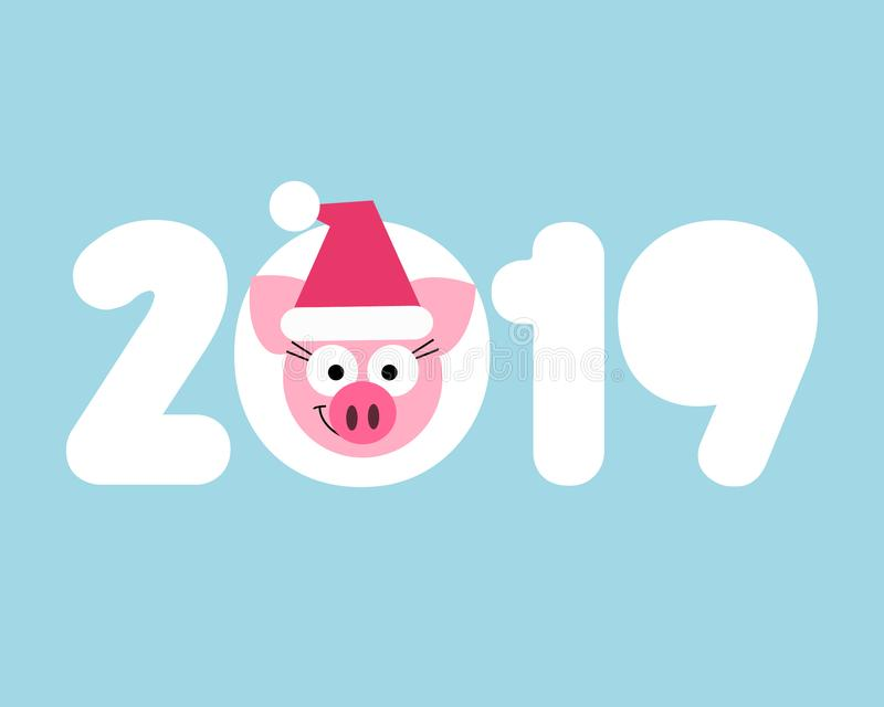 网传染媒介2019新年猪在动画片样式的卡片设计 库存例证