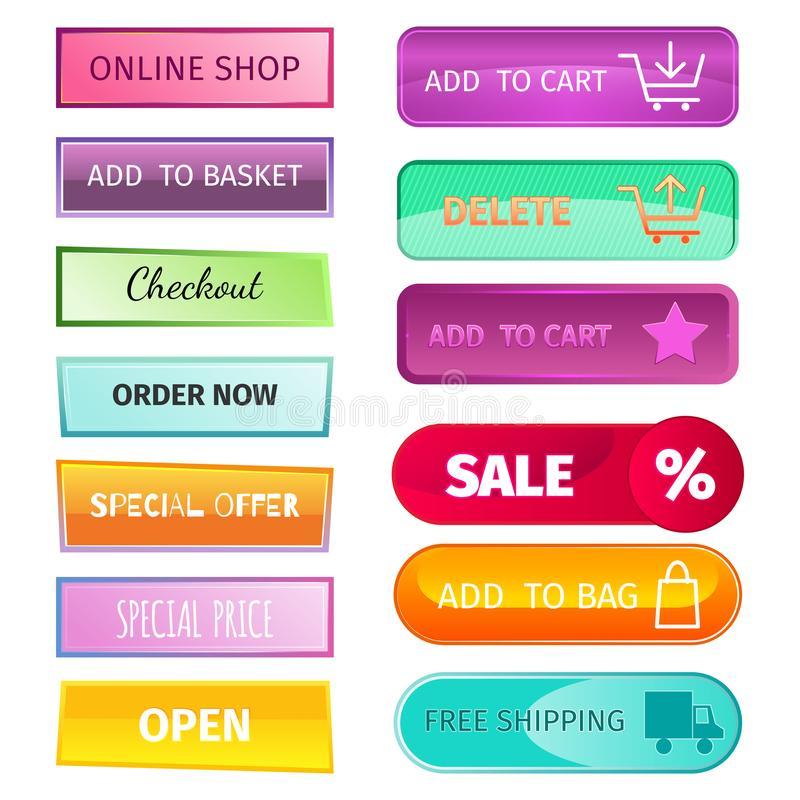 网元素商店按钮买元素推车企业横幅标志航海菜单网上图贴现市场零售 库存例证