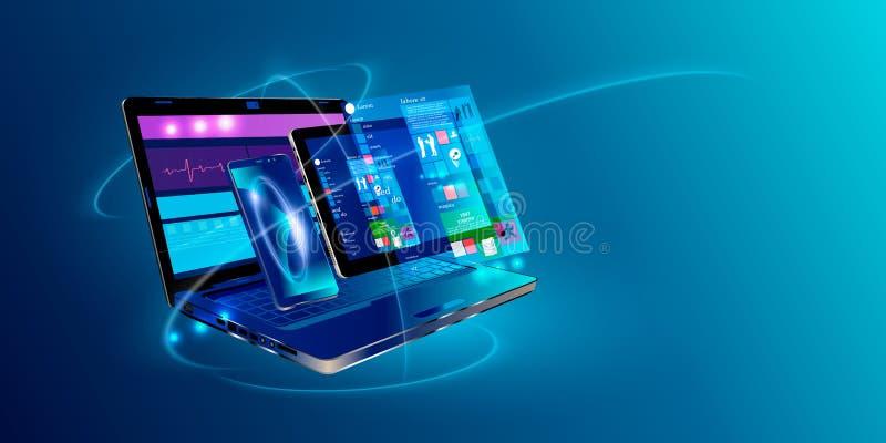 网发展和编制程序 发怒平台发展网站 能适应的布局网页或网接口在屏幕膝上型计算机, 向量例证