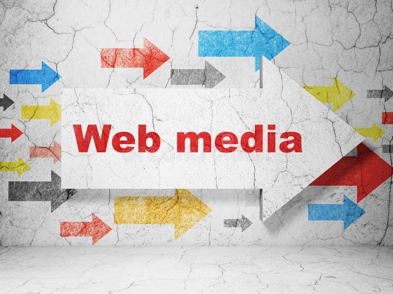 网发展概念:与网媒介的箭头在难看的东西墙壁背景 库存例证