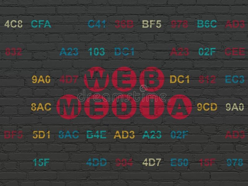 网发展概念:在墙壁背景的网媒介 向量例证