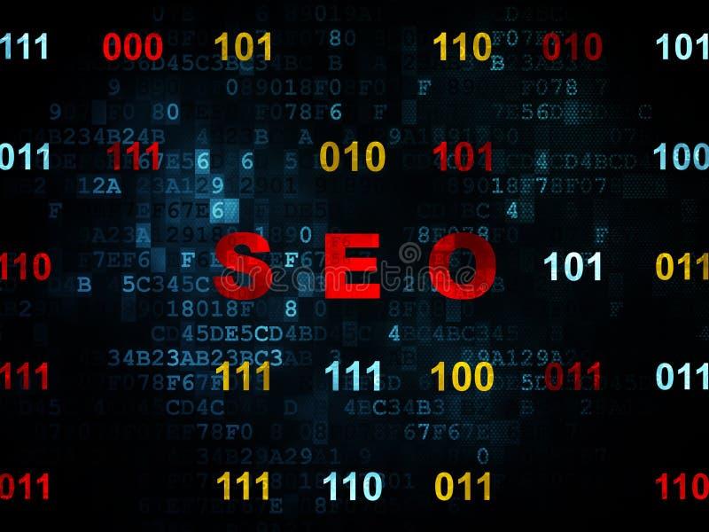 网发展概念:在数字式背景的SEO 向量例证