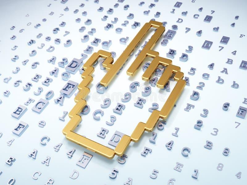 网发展概念:在数字式backgrou的金黄老鼠游标 皇族释放例证