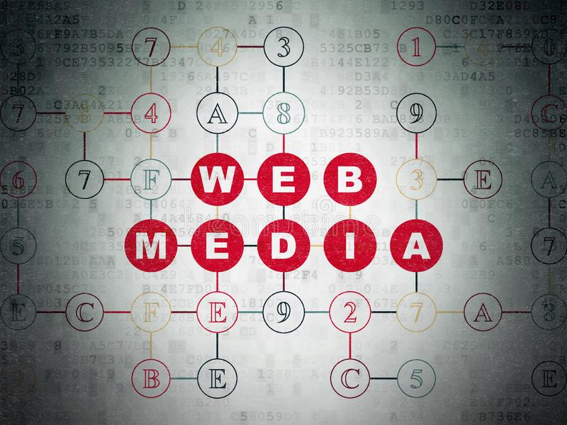 网发展概念:在数字资料纸背景的网媒介 皇族释放例证