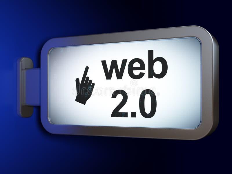 网发展概念:网2 0和在广告牌背景的老鼠游标 向量例证