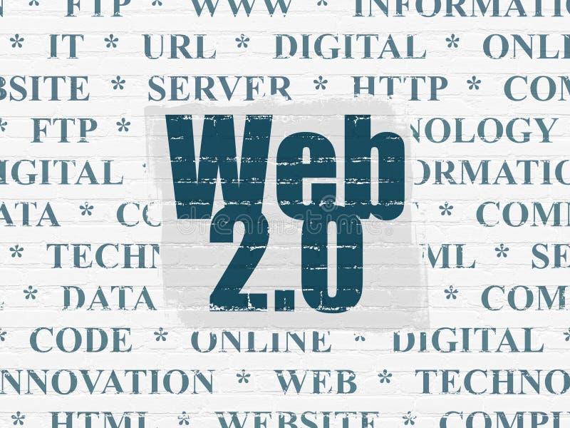 网发展概念:网2 0在墙壁背景 库存例证