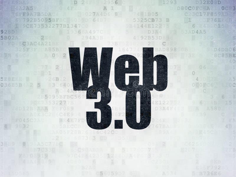 网发展概念:网3 0在数字资料纸背景 向量例证
