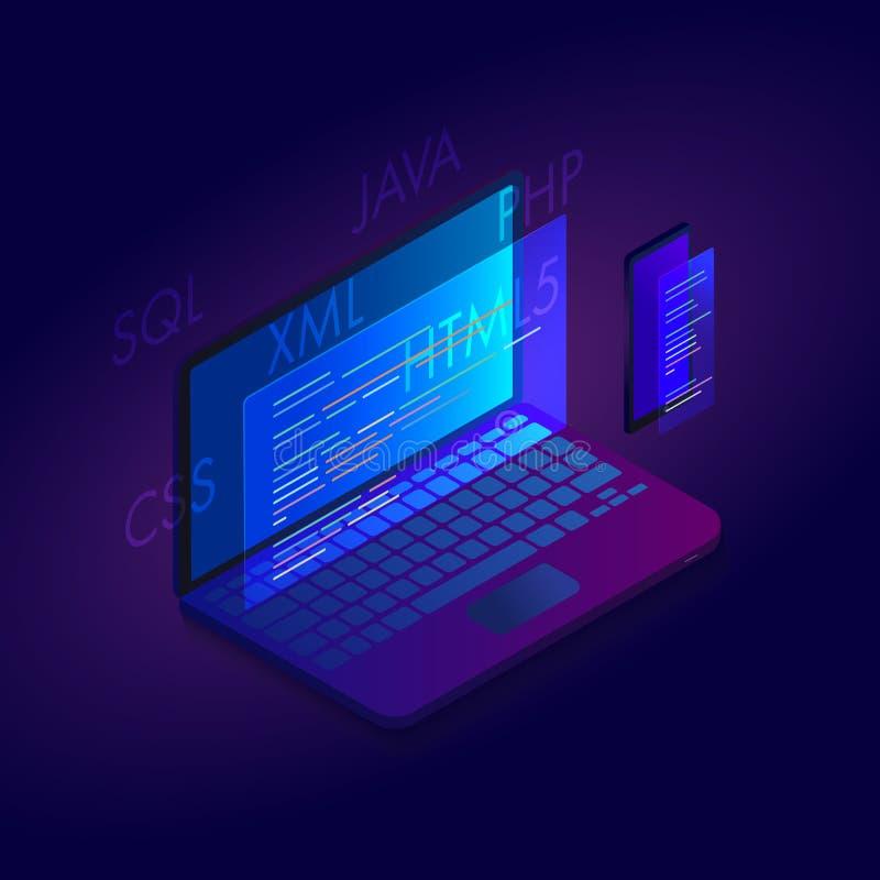 网发展等量设计的编程和编制程序站点 Html,Java,php,sql,css 与膝上型计算机和智能手机的概念 库存例证
