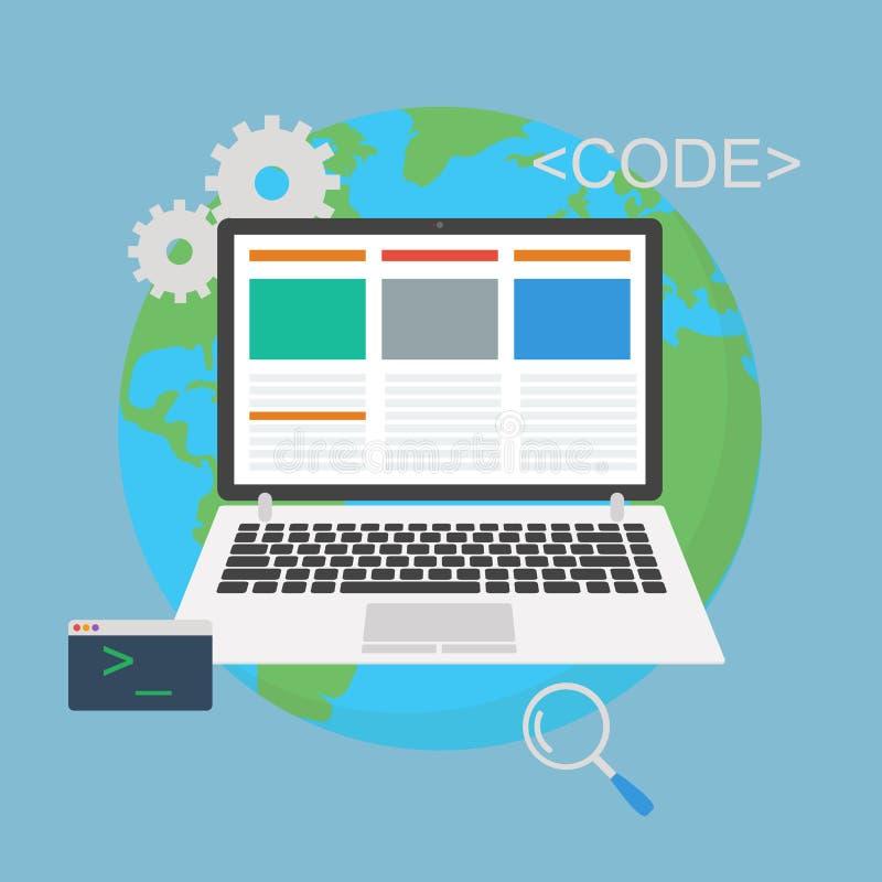 网发展 与控制台地球的膝上型计算机编程的概念 皇族释放例证