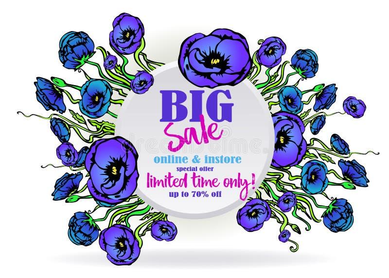 网和印刷品的大销售flayer模板,在与紫色蓝色百花香的白色背景 创造性的传染媒介设计,典雅 皇族释放例证