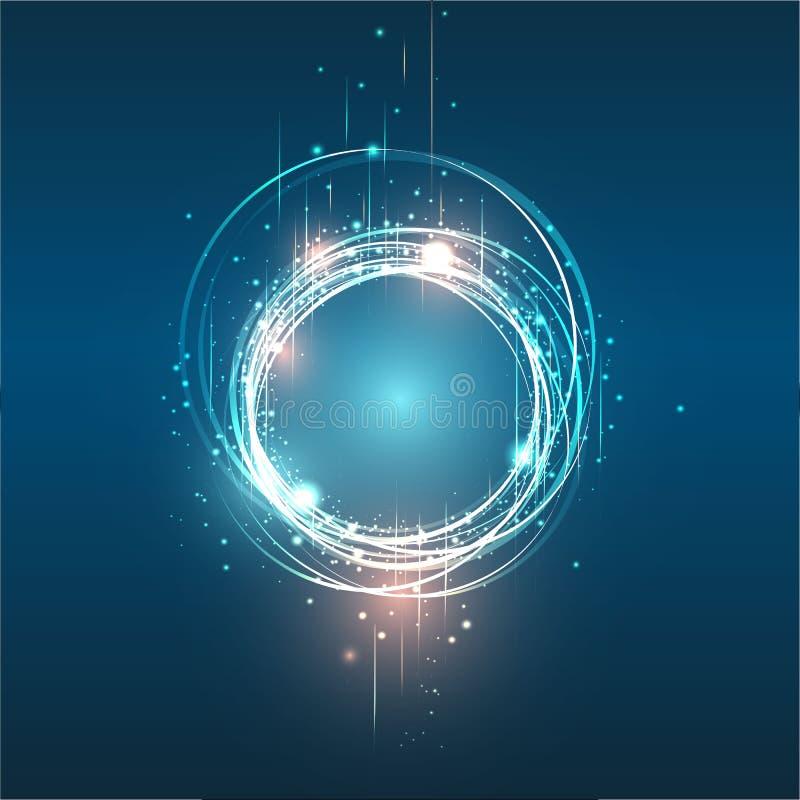 网和印刷品的,明亮的背景,行动不可思议的圈子紫色桔子传染媒介圆的框架光亮的圈子横幅例证 库存例证