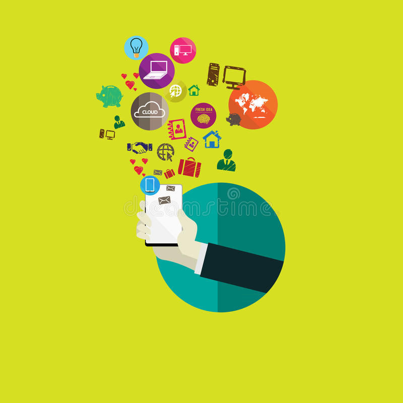 网和手机服务和apps的平的设计观念象 向量例证