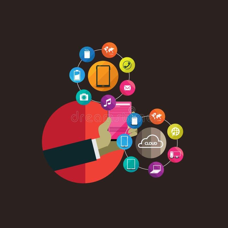 网和手机服务的平的设计观念象 库存例证