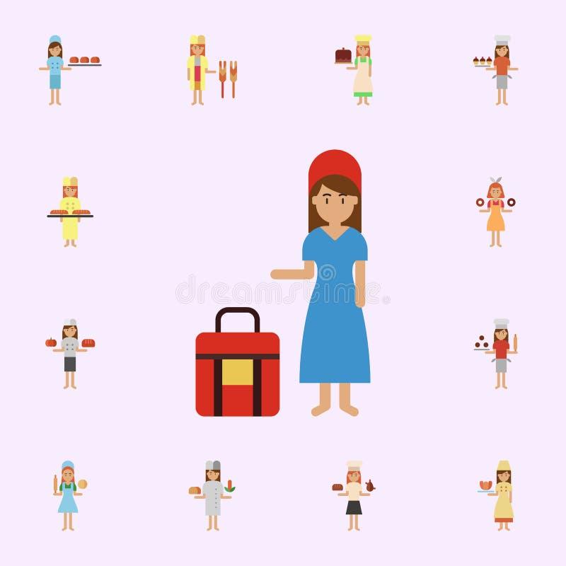 交付袋子,面包店颜色象 网和机动性的面包店象全集 库存例证