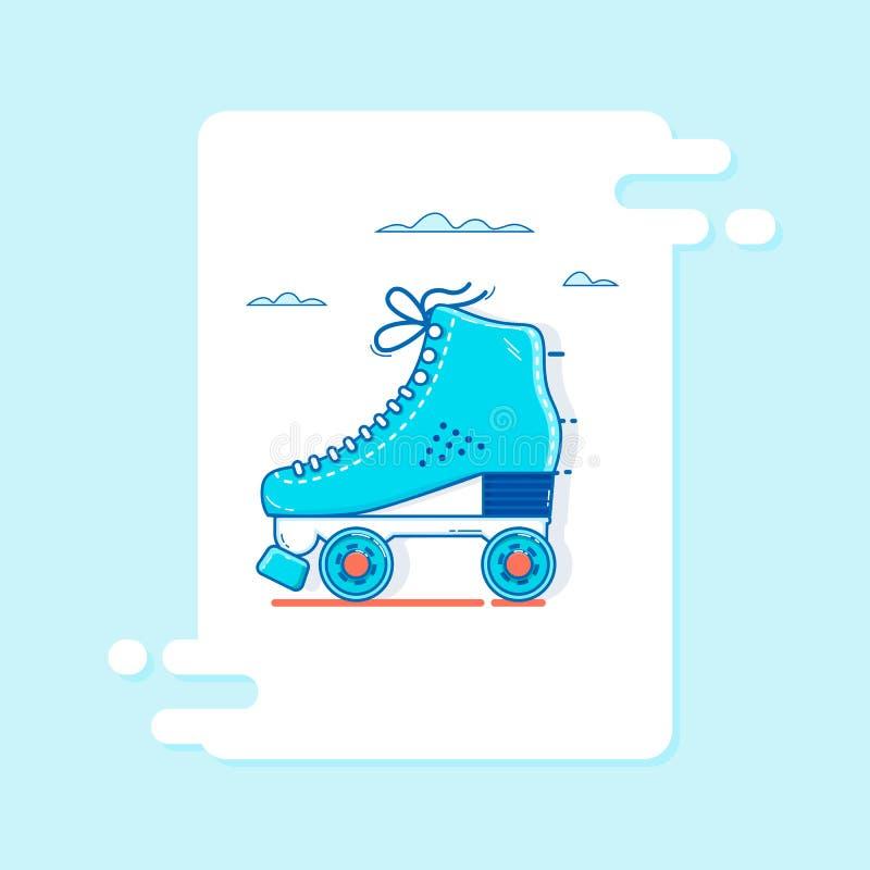 网和机动性的,现代minimalistic平的传染媒介设计溜冰鞋象稀薄的线 向量例证