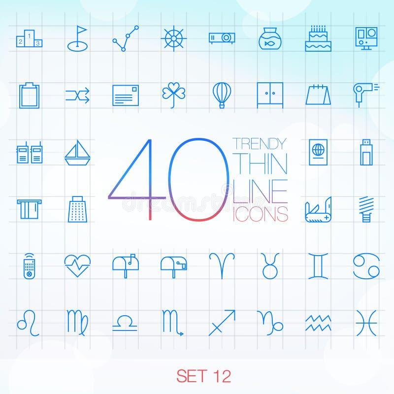 网和机动性的40个时髦稀薄的象设置了12 库存例证