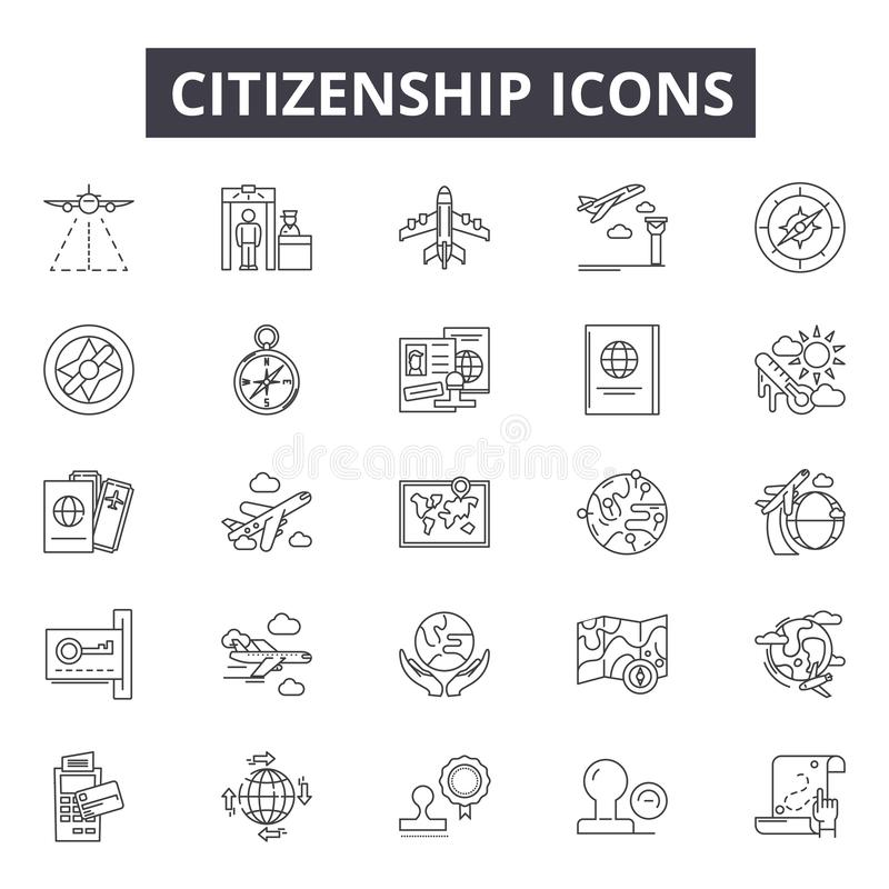 网和流动设计的公民身份线象 编辑可能的冲程标志 公民身份概述概念例证 皇族释放例证
