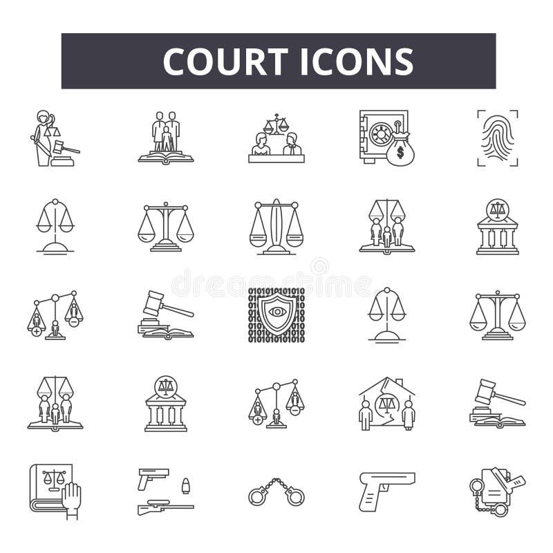 网和流动设计的法院线象 编辑可能的冲程标志 法院概述概念例证 向量例证