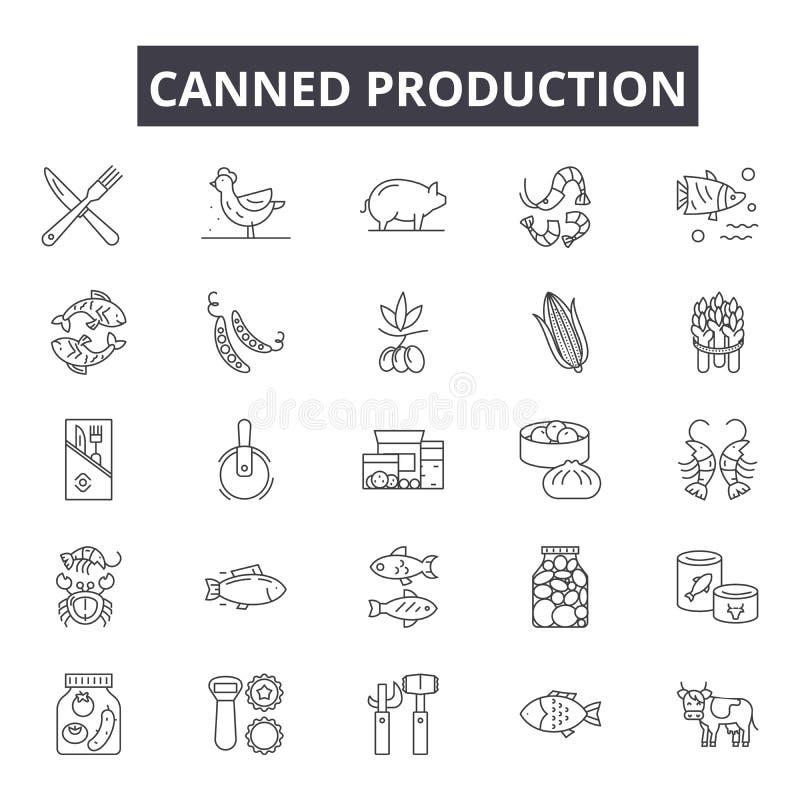 网和流动设计的罐装生产线象 编辑可能的冲程标志 罐装生产概述概念 皇族释放例证