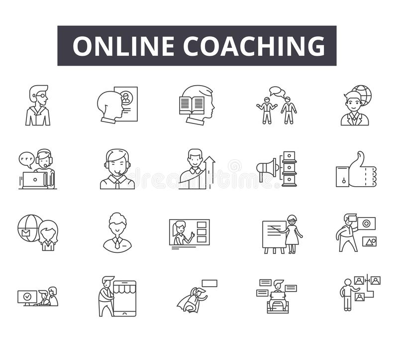 网和流动设计的网上教练的线象 编辑可能的冲程标志 网上教练的概述概念 皇族释放例证