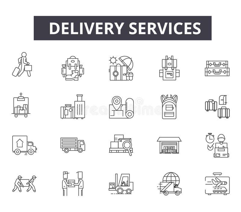 网和流动设计的送货服务用户线路象 编辑可能的冲程标志 送货服务概述概念 向量例证