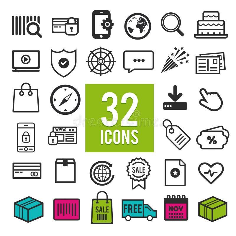网和流动apps的-通信象集合-旅行-购物-事务-财务-运输-医疗-计算机 皇族释放例证