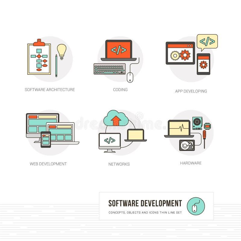 网和软件开发商 库存例证